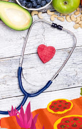 A stethoscope and food