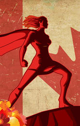 A female superhero in front of the Canadian flag