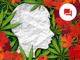 conceptual image with cannabis leaves and silhouette of a young person