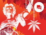 conceptual image of lady justice, cannabis and handcuffs