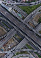 aerial view of a highway distributor